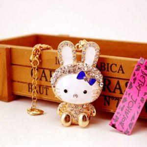 Enamel women Rhinestone Bow rabbit chain Necklace